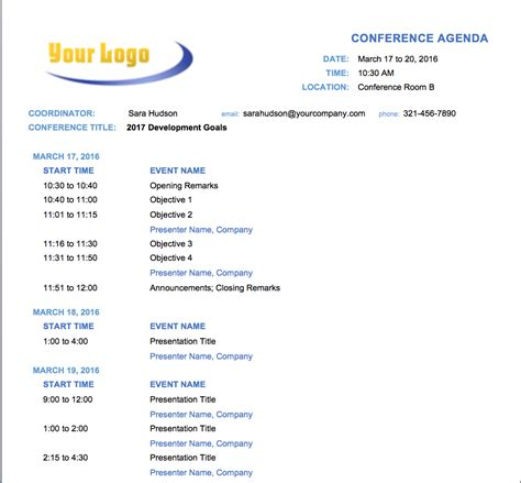 Offsite Agenda Template free meeting agenda templates smartsheet
