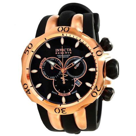 Invicta 1543 Rosegold Black Rubber invicta 10830 s reserve venom gold tone black