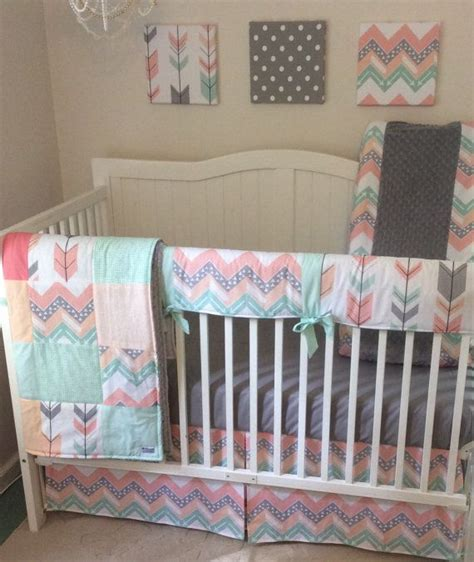 Gray And Coral Crib Bedding 20 Best Coral Mint And Gray Nursery Images On Baby Cribs Cribs