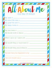 About Me Template For Students by Day Of School Quot All About Me Quot Free