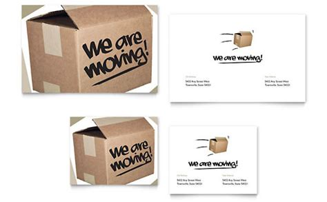 moving home cards template office moving announcement template design