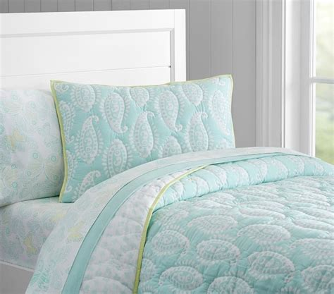 pottery barn comforters and quilts paisley wholecloth quilted bedding pottery barn kids