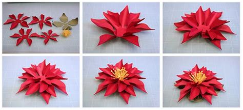 How To Make Paper Poinsettia Flowers - bits of paper 3d paper poinsettia and poinsettia wreath