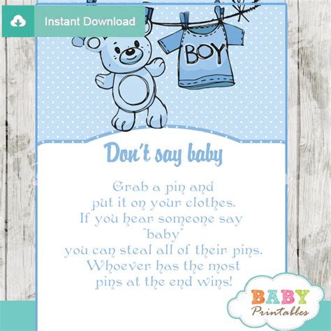 blue clothesline baby shower games bundle