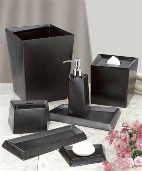 modern angles black matte ceramic bath accessories