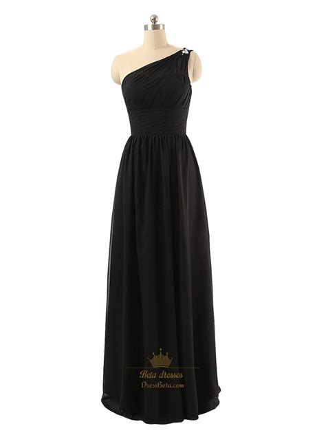black beaded dress black beaded one shoulder length ruched bodice