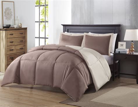 colormate reversible comforter set taupe khaki