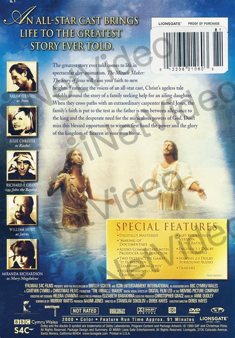 Miracle Maker A Tale The Miracle Maker The Story Of Jesus Special Edition On Dvd