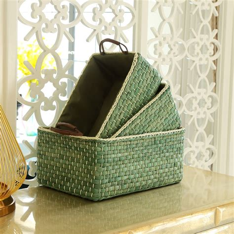 Bamboo Storage Organizer Box Organizer Serbaguna Limited handmade wicker storage baskets bins containers organizer box desktop decorative storage