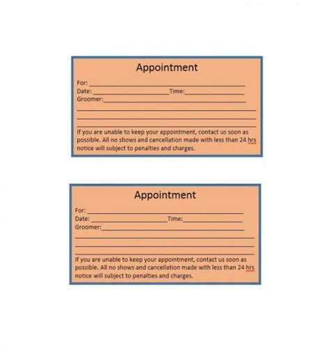 appointment cards template 40 appointment cards templates appointment reminders