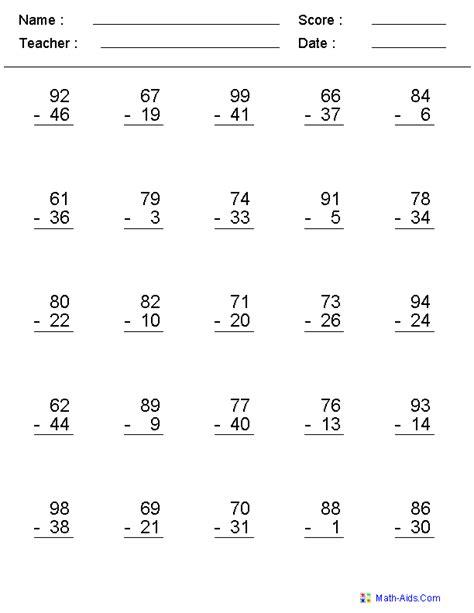 sub worksheets subtraction worksheets dynamically created subtraction worksheets
