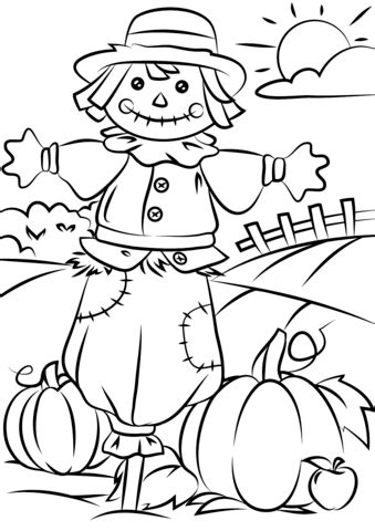 pumpkin scarecrow coloring pages autumn scene with scarecrow coloring page free printable