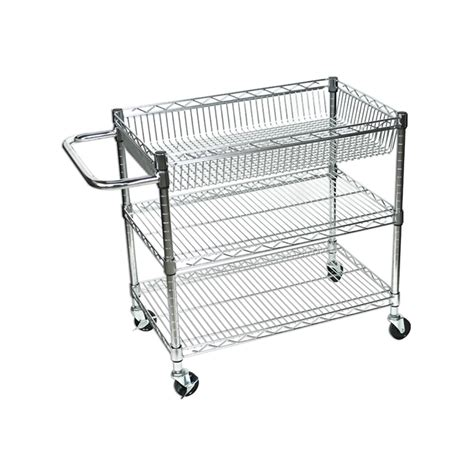 Three Shelf Cart by Offex Licwt2918 Large Wire Tub Cart Three Shelves Ebay