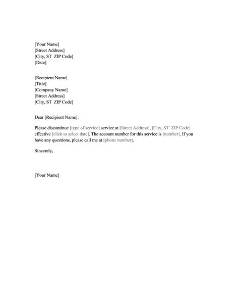 letter format for cancellation net connection letter requesting cancellation of service office templates