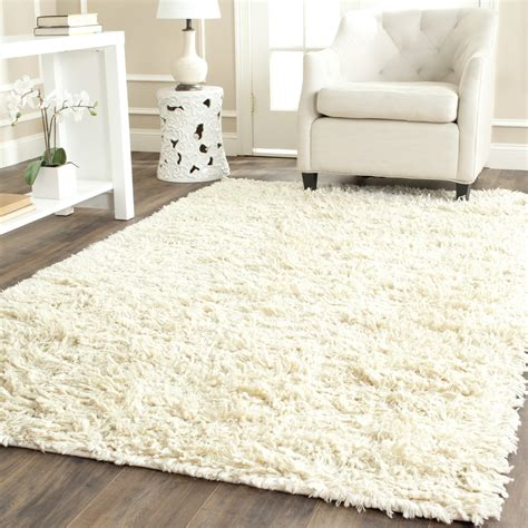 Safavieh Hand Tufted Ivory Plush Shag Wool Area Rugs Wool Area Rugs