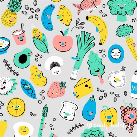 pattern cute illustrator healthy foods pattern by emily balsley pattern