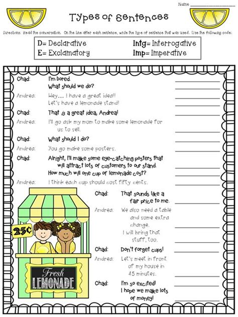 Types Of Sentences Worksheets 2nd Grade by Types Of Sentences Worksheet Freebie Declarative