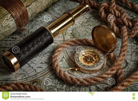 old boat navigation tools nautical background with a navigation tools stock image