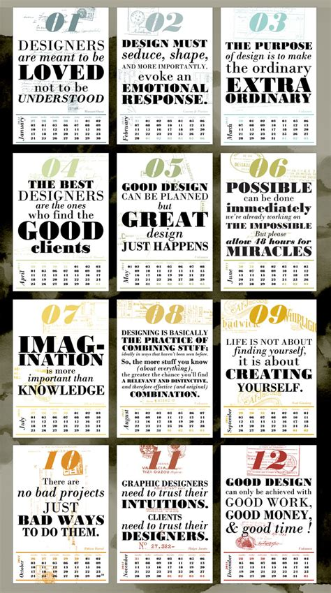 calendar design quote style pantry design fashion enthusiasts 2011 calendar