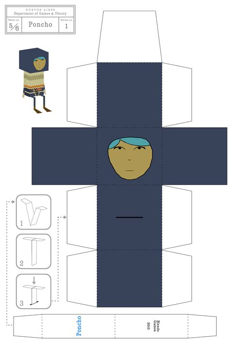 Papercraft Characters - quadrilateral cowboy papercraft characters
