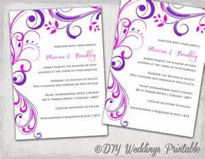 digital wedding invitations templates wedding invitation templates purple and pink quot scroll