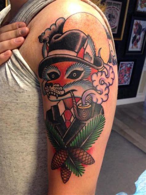 new school fox tattoo shoulder fantasy new school fox tattoo by filip henningsson