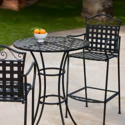 Outdoor Bistro Table Set Bar Height Woodard Wrought Iron Bar Height Bistro Set Outdoor Bistro Sets At Hayneedle