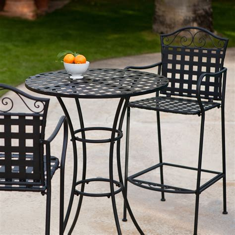 Woodard Capri Wrought Iron Bar Height Bistro Set Outdoor Wrought Iron Patio Table Set