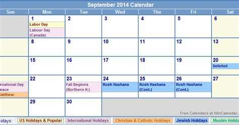 2014 calendar template with holidays september 2014 calendar printable with holidays