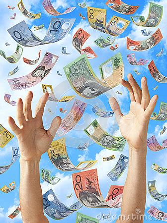 Win Money Australia - falling money australian hands sky stock photography image 25136592
