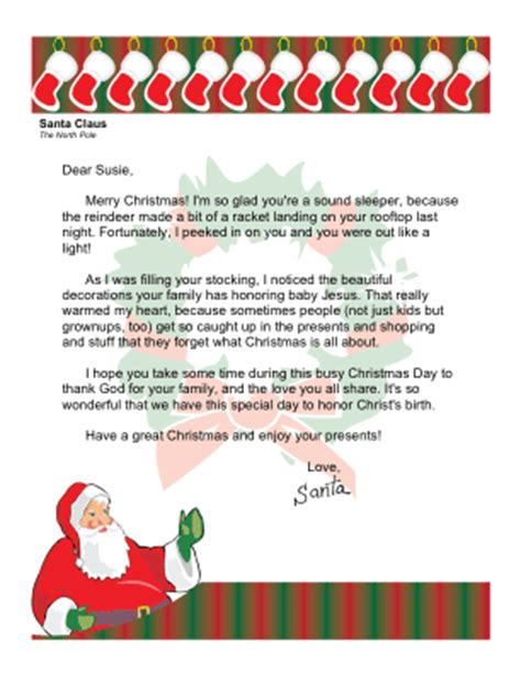 free printable religious santa letters christmas morning letter from santa with religious theme