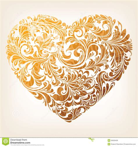 gold heart pattern ornamental gold heart pattern royalty free stock photos