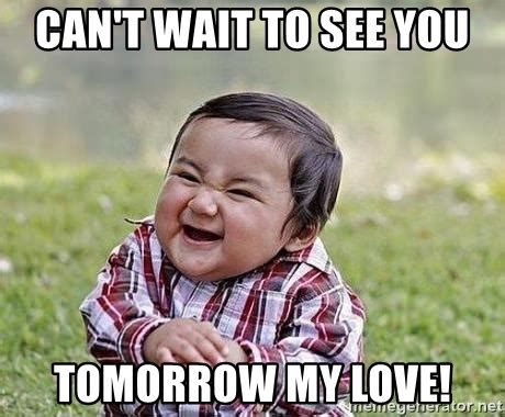 Can T Wait Meme - can t wait to see you tomorrow my love evil plan baby
