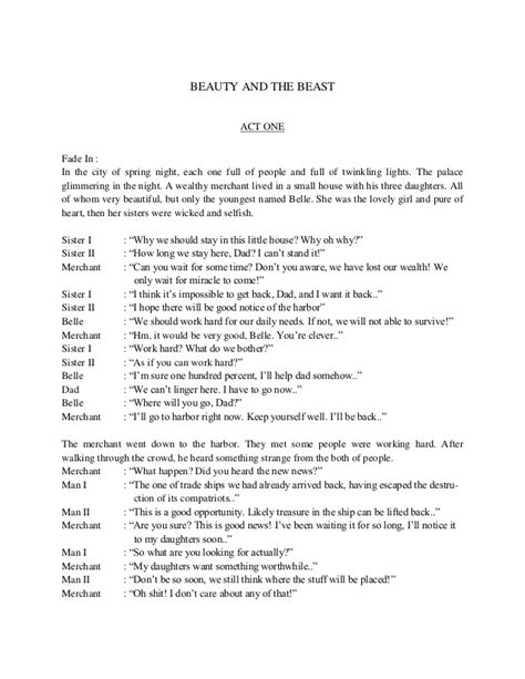 our house the musical script script of english musical drama beauty and the beast