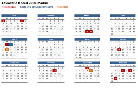Calendario 2018 Comunidad De Madrid Calendario Laboral 2018 De La Comunidad De Madrid San