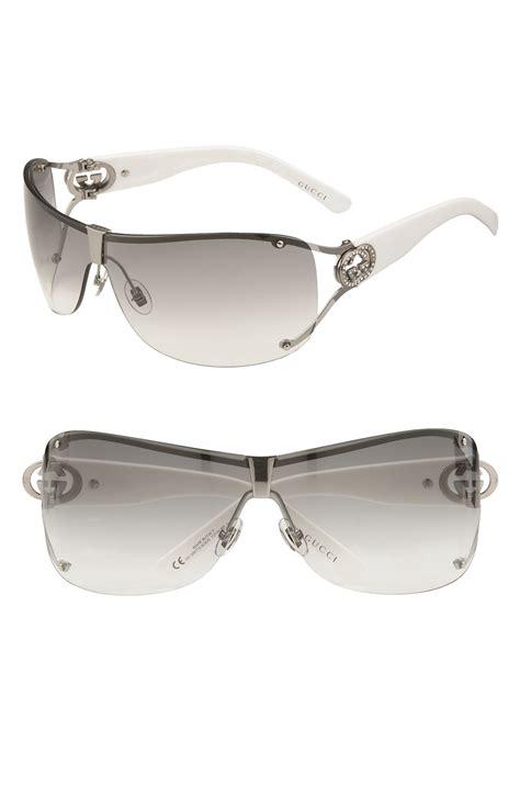 Guc Ci Silver White gucci 73mm shield sunglasses with logo detail in