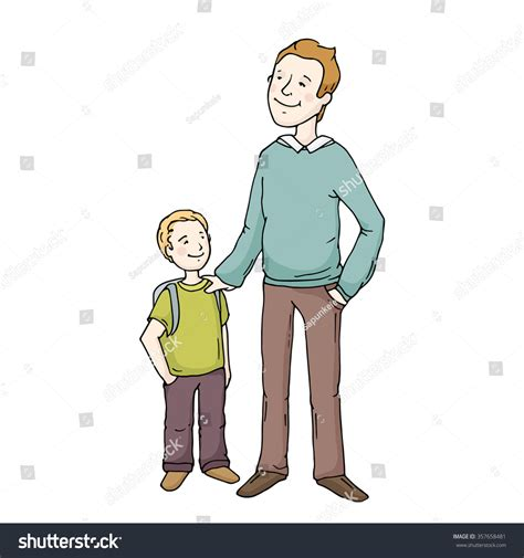 father and son cartoon happy cute parent child standing together stock vector