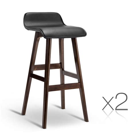 Wood And Leather Bar Stools by Set Of 2 Pu Leather And Wood Bar Stool Black Direct
