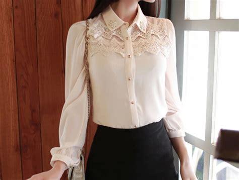 Japanese Style Blouse japanese style ol match white sleeve pearl chiffon blouse