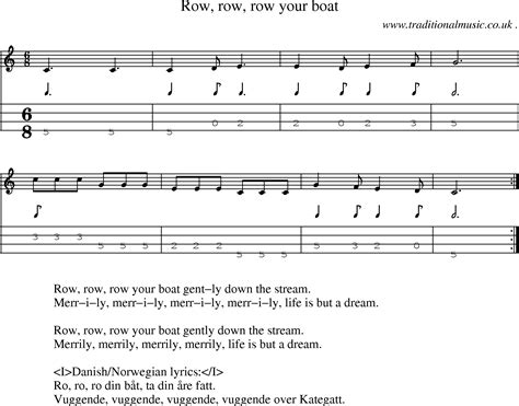 row your boat masonic row row row your boat sheet music