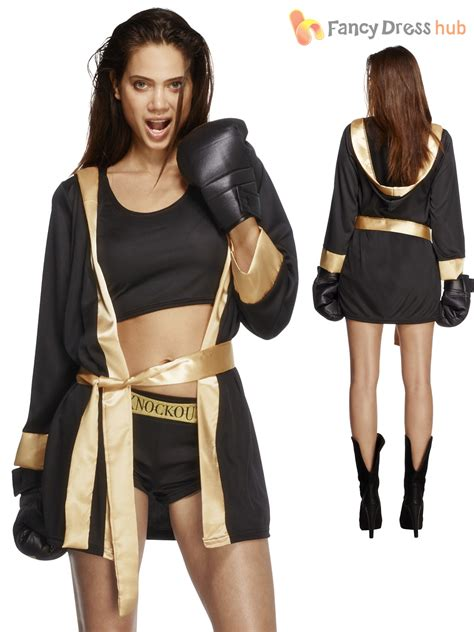 boxer costume fever knockout boxing fancy dress costume womens boxer fighter ebay