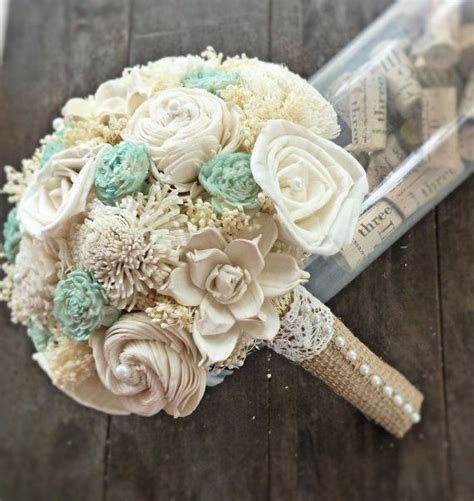 Handmade Bouquets - handmade wedding bouquet small ivory mint bridal