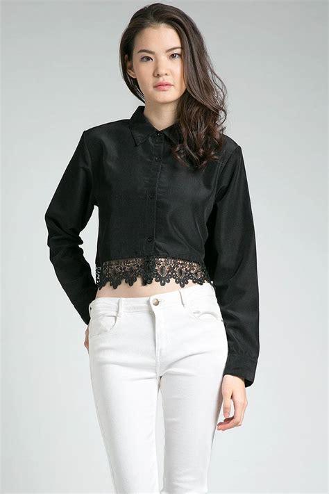 Swag Crop Black Baju Atasan Wanita Top Sweater Murah Terbaru sell gelsey crop shirt blouse berrybenka