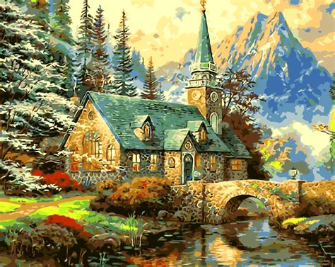 acrylic painting description acrylic paint by numbers kit canvas 50 40cm 8004 mountains