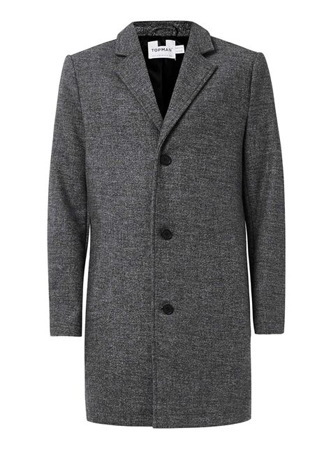 knitted overcoat grey salt and pepper wool mix overcoat topman