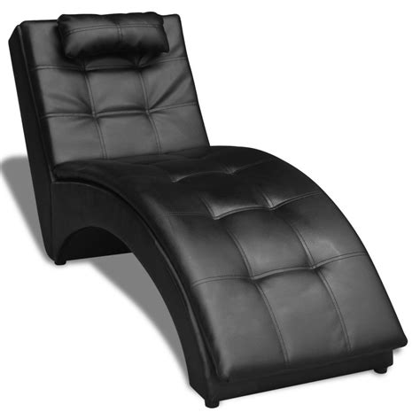 black leather chaise vidaxl chaise longue with pillow artificial leather black