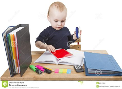 Young Child At Writing Desk Stock Photo Image 25911840 Kid At Desk