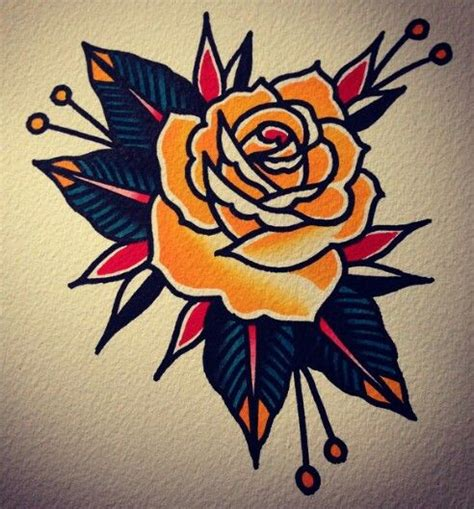 traditonal rose tattoo traditional pinteres