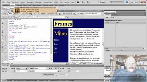 tutorial adobe dreamweaver html adobe dreamweaver html frames loswerden tutorial teil 1