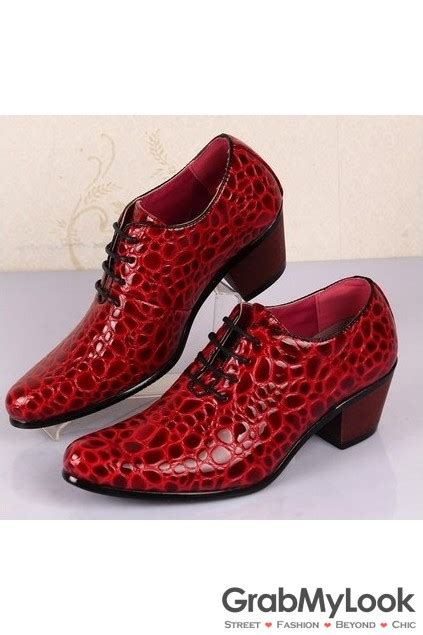 red pattern heels snake skin leather pattern punk lace up shinny black red